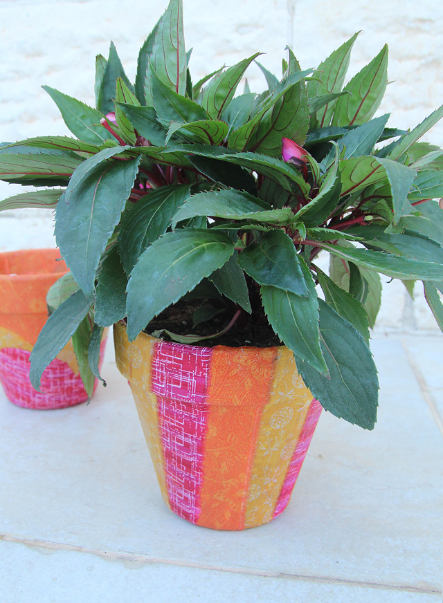 Fabric decoupage striped plant pot