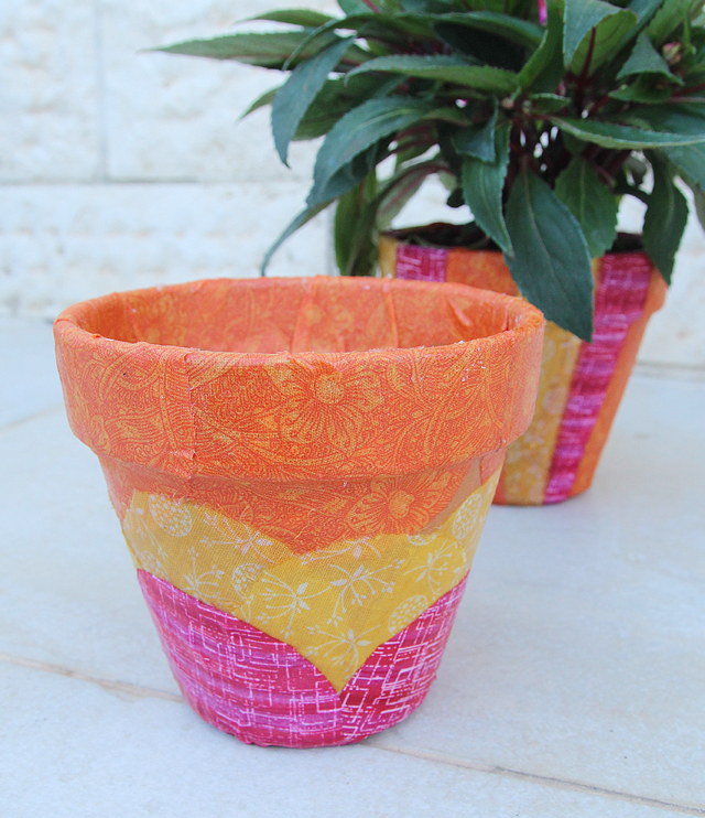 Fabric Decoupaged Pot, scalloped