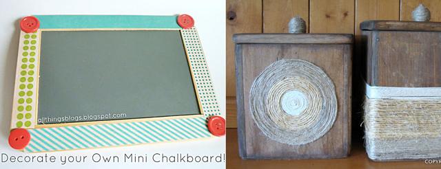 Mini chalkboard embellishment,cannister re-do