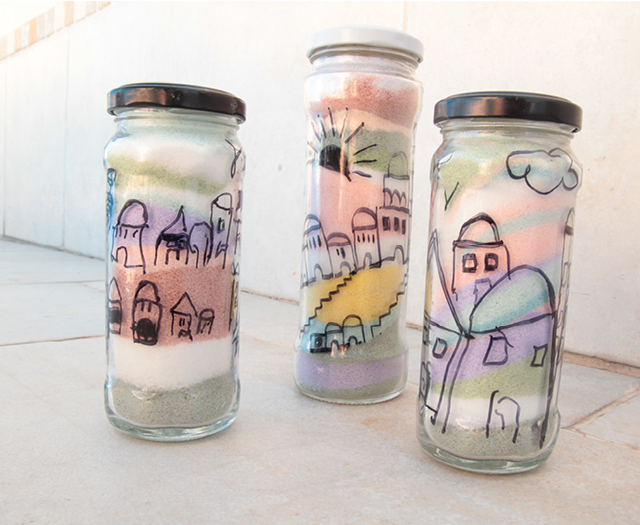 Salt Colored with chalk jars kids craft2