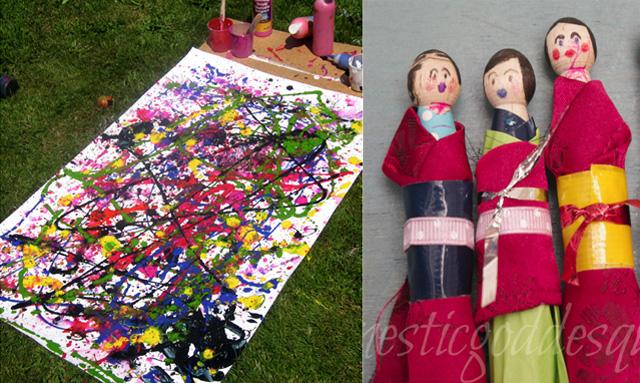 Peg dolls, jackson pollack for kids
