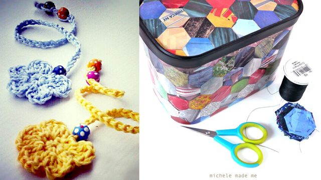 Crocheted bookmarks,decoupage hexigon container