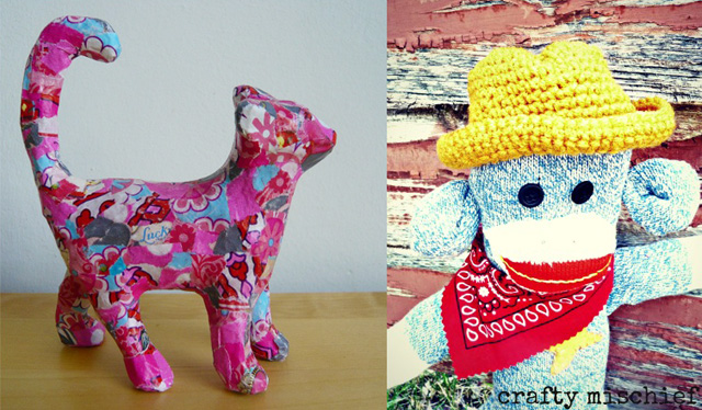 Decoupage cat, cowboy sock monkey