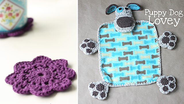 Crocheted coaster,puppy dog lovey