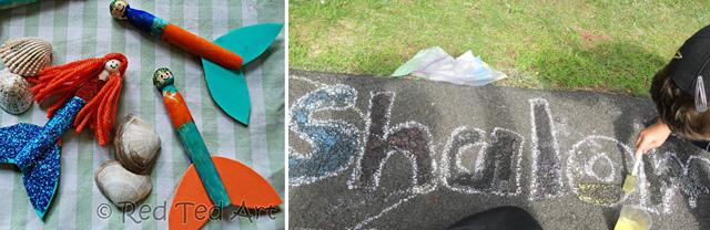 Clothespin mermaids,chalk paint