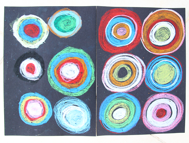 Drawing With Pastels on Black Paper-circles