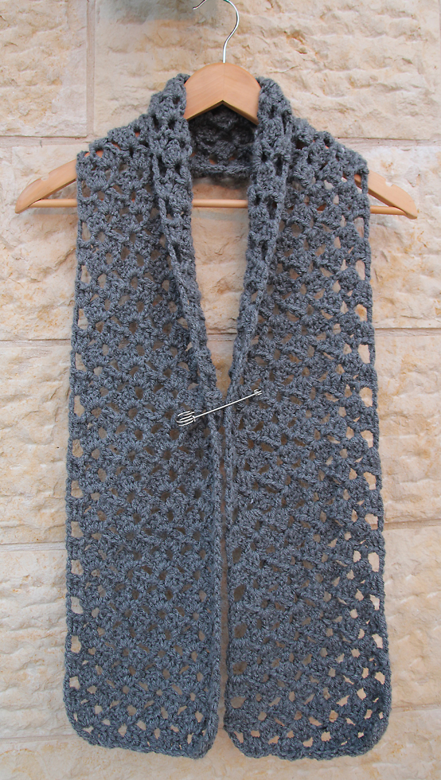 Crocheted Chunky Lacy Grey Scarf