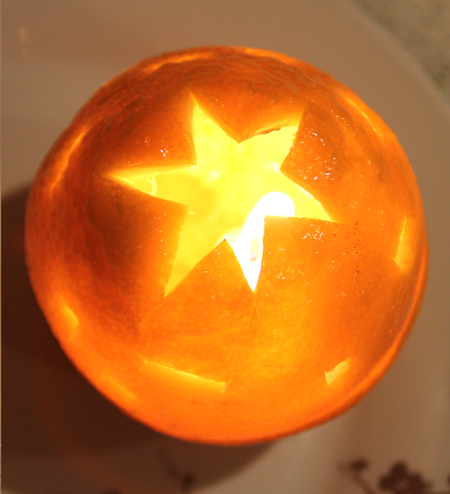Orange Candle With Carved Lid