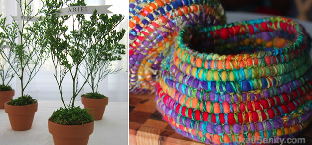 Tu B'Shevat place card plants,crocheted roving vessel