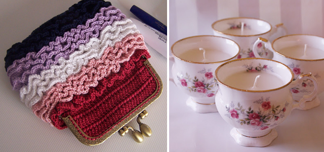 Crocheted coin purse,tea cup candles