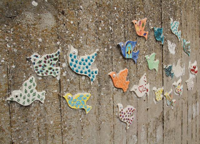 Garden mosaic flock of birds