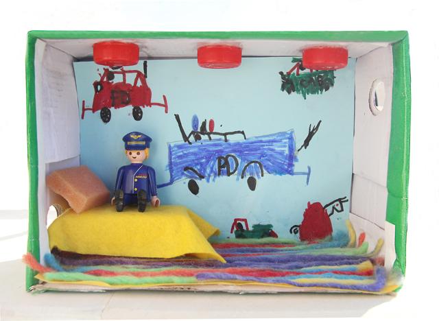 Shoe Box Doll House Policeman's room
