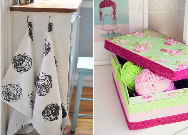 Cabbage printed dish towels, yarn wrapped box