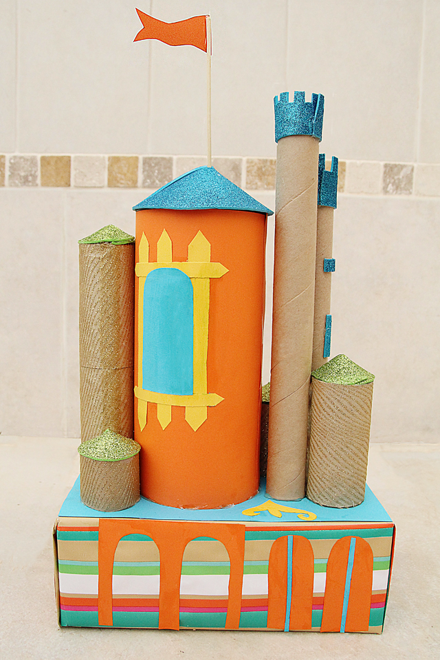 Castle From Tubes and shoe box back view