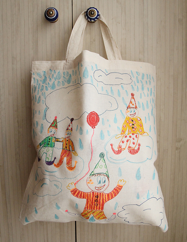Purim Clown Hat Tote Bag with Fabric Markers