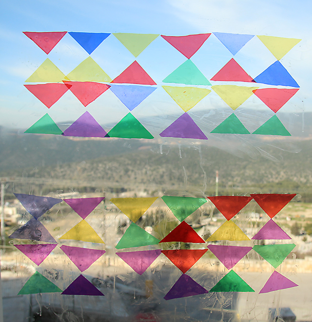 Celophane stained glass craft triangles