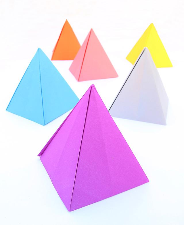 Origami Passover pyramids centerpiece