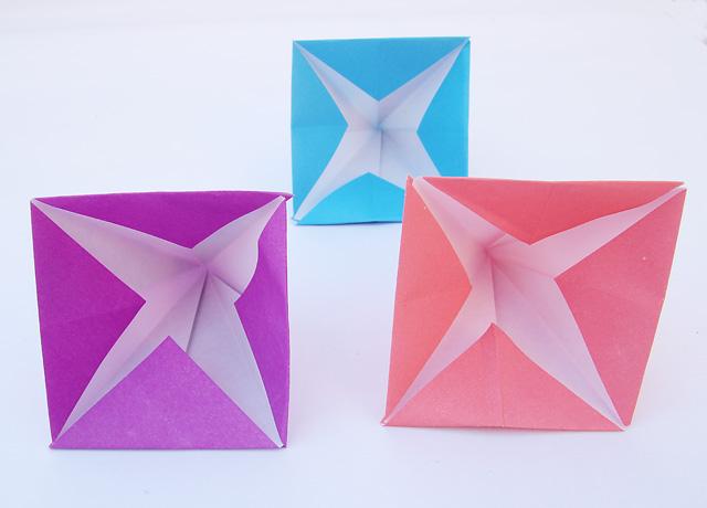 Origami Passover pyramids bottom view