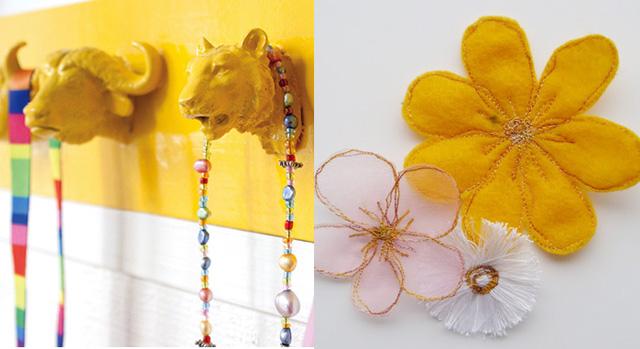 Plastic animal hooks,machine embroidered flowers