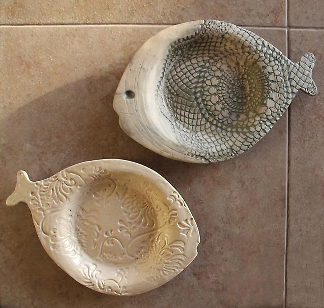 Ceramic Hand Built Fish Plates & Hand Built Ceramic Textured Fish Plates - creative jewish mom