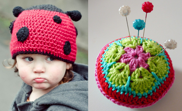Crocheted lady bug hat,african flower pin cushion