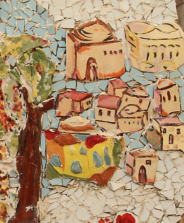 Garden Mosaic With Ceramic Pieces Up close