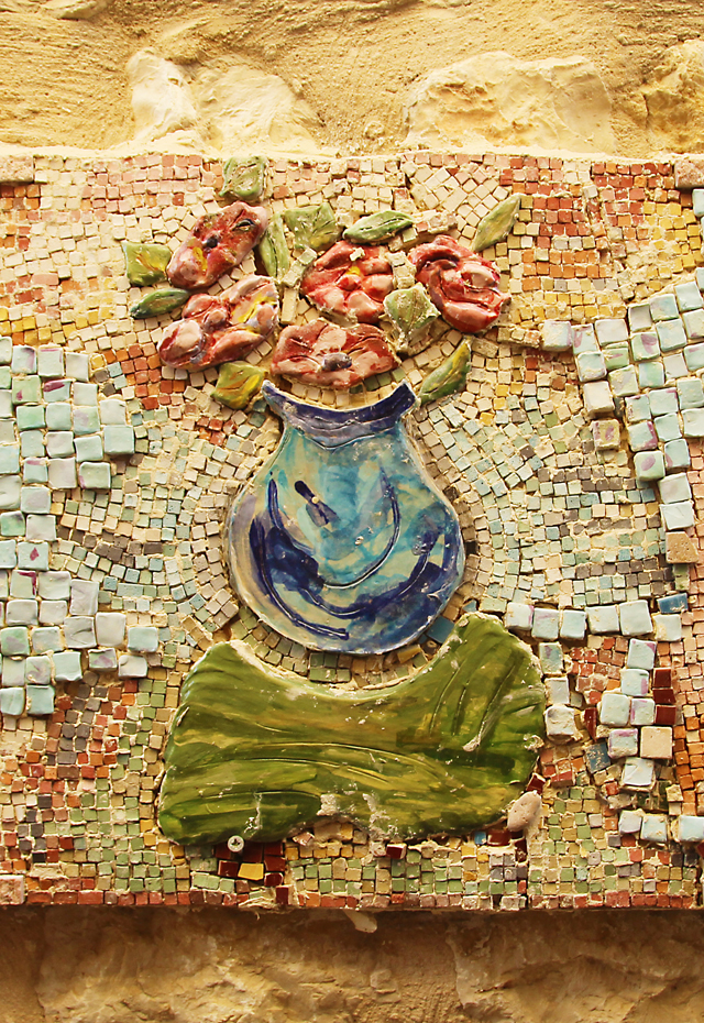 Garden Mosaic Collage Vase Closeup
