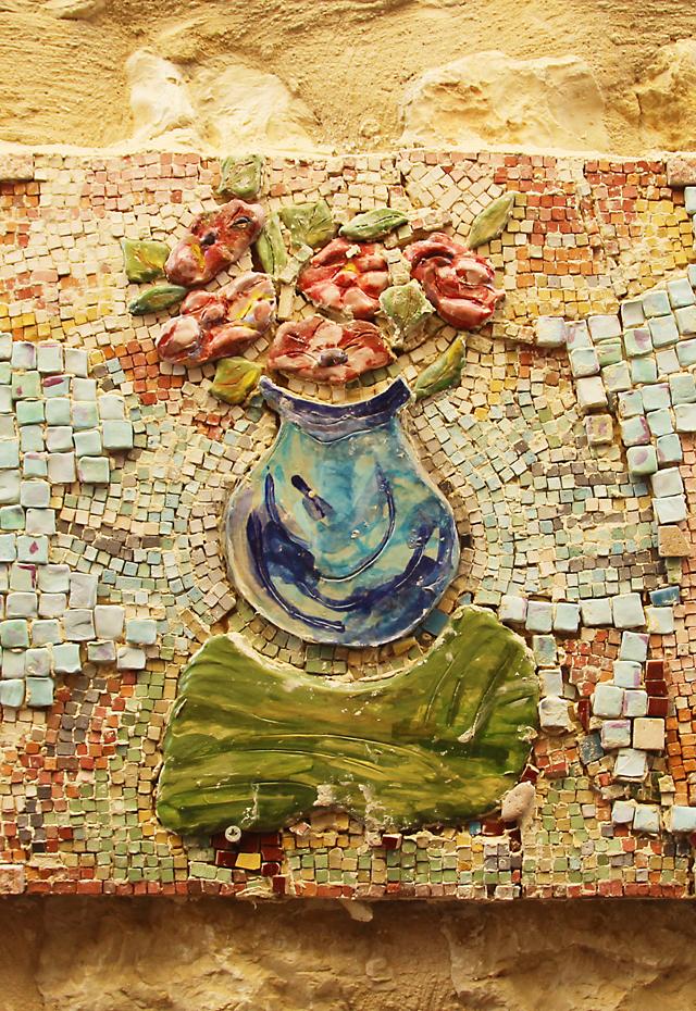 Garden Mosaic Collage Vase Closeup