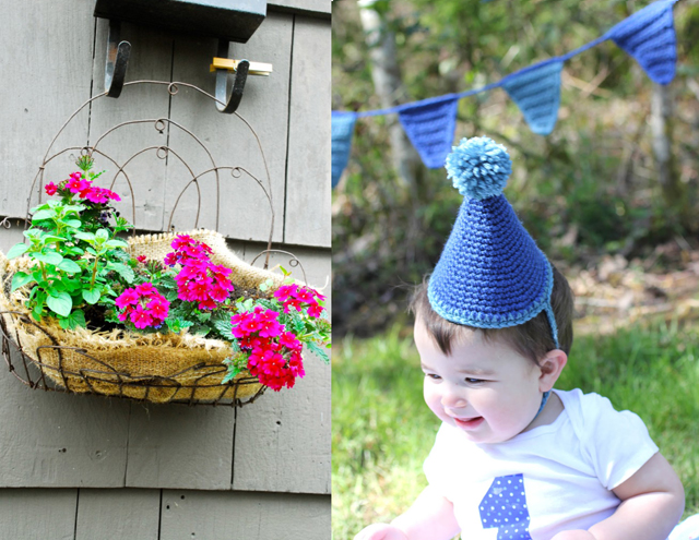 Burlap plant liner,crocheted birthday hat and bunting banner