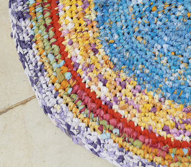 Crocheted Rag Rug from sheets close up