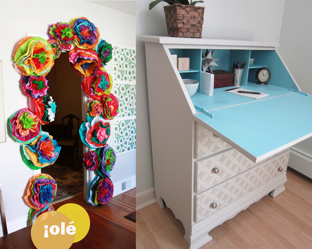 Giant tissue paper flower, stenciled desk