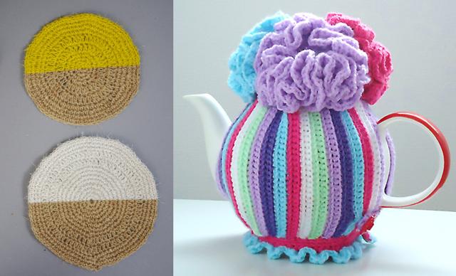 Crocheted hemp coasters, tea cozy
