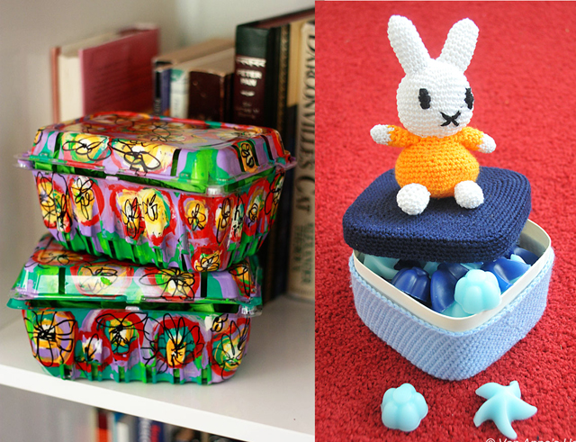 Painted recycled berry boxes,miffy crocheted box