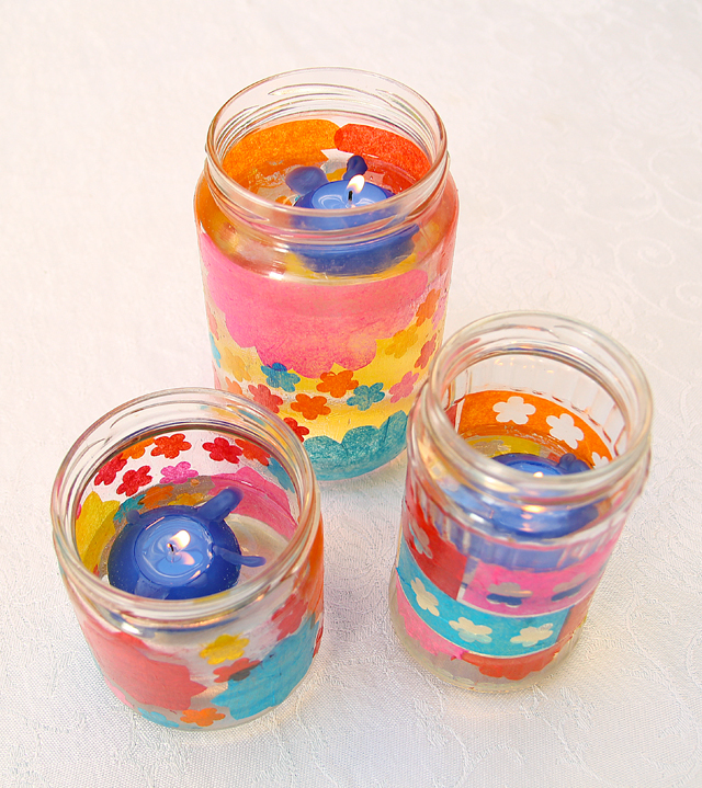 Decoupage Candle Jars with floating candles