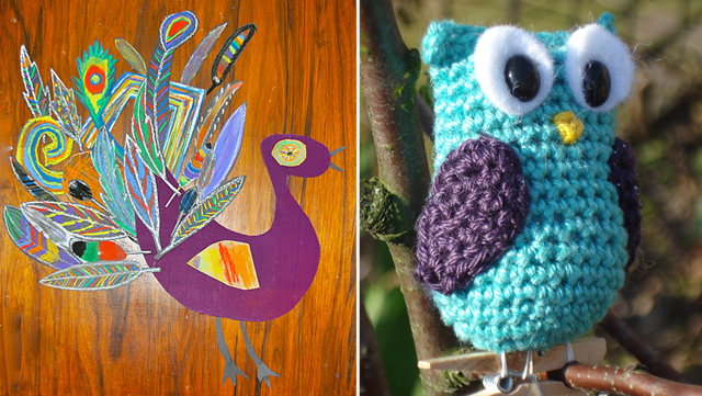 Collage rooster,crocheted owl