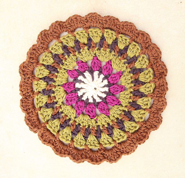 Crocheted medallion potholder
