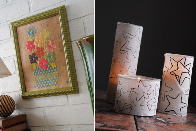 Mod podge art, candle sleeves
