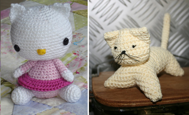 Crocheted hello kitty pattern,natural cat pattern