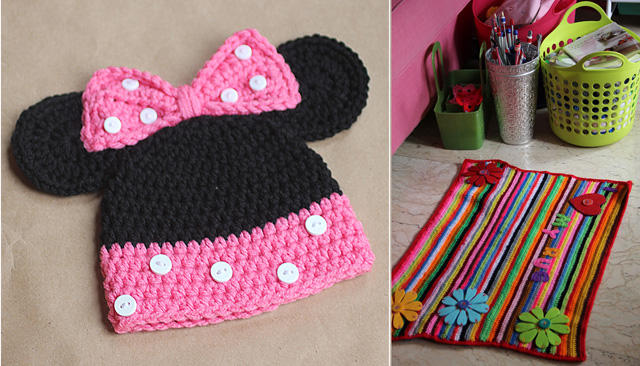 Minnie mouse crocheted had pattern,striped rug