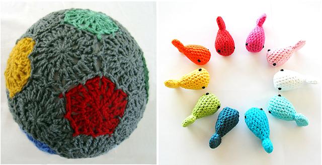 Crocheted balloon ball, crocheted fish