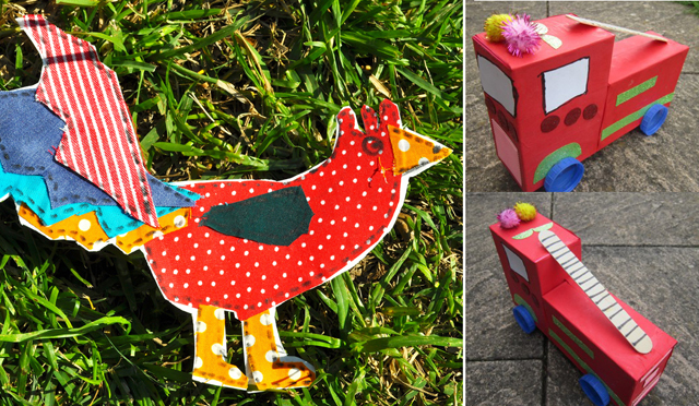Fabric barnyard animals for kids,firetruck from boxes
