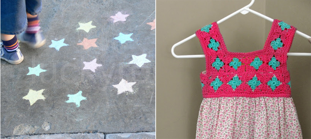 Sidewalk chalk stars, crocheted yoke dress