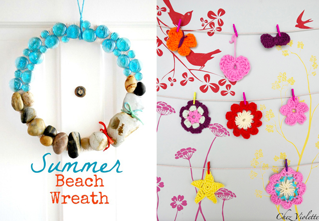 Beach Wreath,crocheted cute appliques