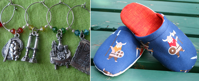 Viking Slippers, shabbat wine charms