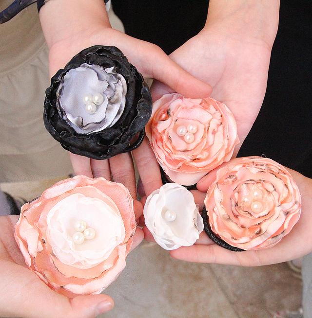 Satin organza layered flowers