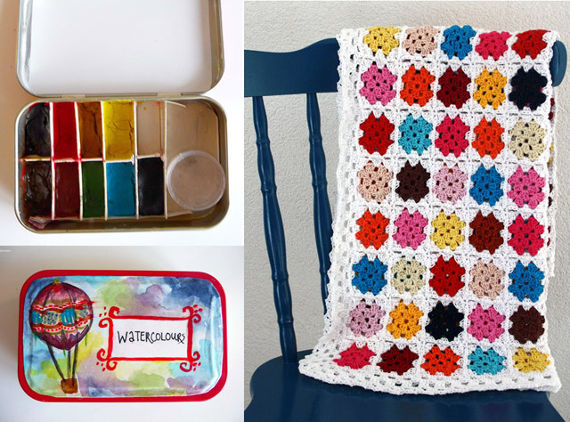Altoid tin water color,granny square blanket