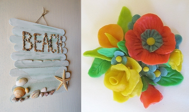 Popsicle stick beach,flowers made from flour dough