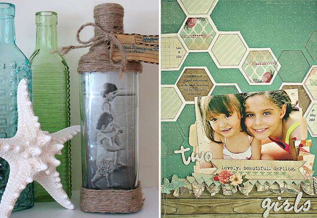 Photo in a bottle,beachy layout