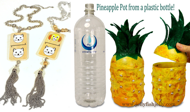Pineapple from plastic bottle,domino jewelry