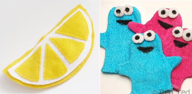 Lemon coin purse,towel puppets